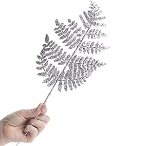 Factory Direct Craft Group of 12 Silver Glittered Artificial Fern Picks for Embellishing Florals, Centerpieces, and More 2