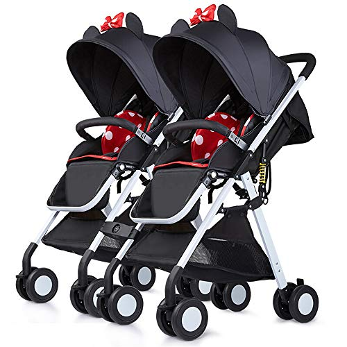 Ginrly Double Stroller Foldable, Side by Side Tandem Stroller for Infant and Toddler Travel Safety Wheels, 5 Points Safety Belts,Girl+Girl