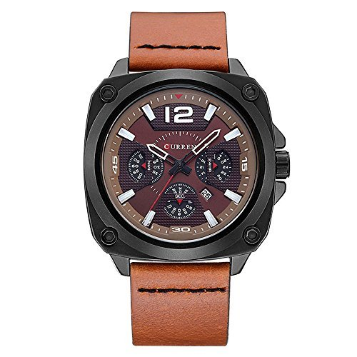CURREN 8260 (All Brown Brown Face) Men's Sports Waterproof Leather Strap Date Good Quality Wrist Watch Digital Solar Bracelet