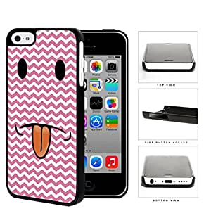 Cute Funny Pink and White Chevron Smiley Face with Tongue Sticking Out Hard Snap on Phone Case Cover iPhone 5c