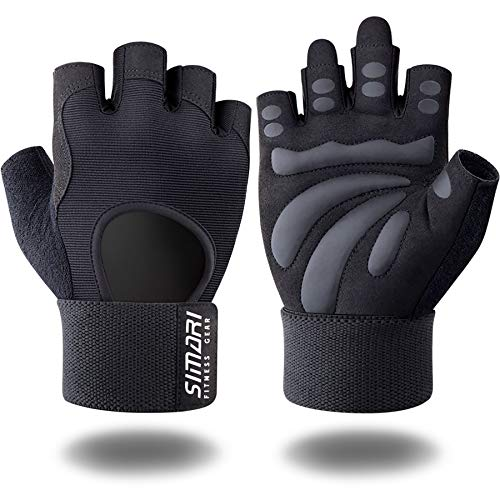 SIMARI Workout Gloves for Women Men,Training Gloves with Wrist Support for Fitness Exercise Weight Lifting Gym Crossfit,Made of Microfiber SMRG906(Black M)
