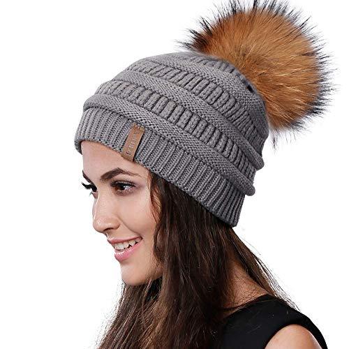 - Womens Winter Knit Beanie Hat Slouchy Skull Cap Real Fur Pom Pom Hats Cap For Girls Double Layer Warm FURTALK Original (Grey Raccoon)