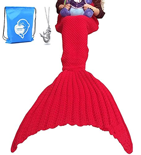 "LAGHCAT Mermaid Tail Blanket Crochet Mermaid Blanket for Adult, Soft All Seasons Sleeping Blankets, Whale Tail Pattern (71""x35.5"", Red)"