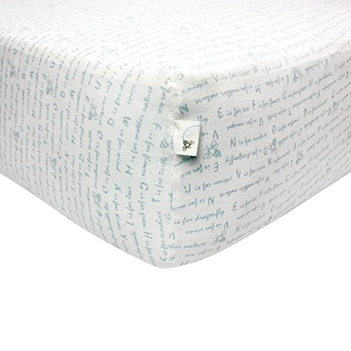 Burts-Bees-Baby-Alphabet-Bee-Fitted-Crib-Sheet-100-Organic-Crib-Sheet-for-Standard-Crib-and-Toddler-Mattresses-Sky