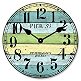 Pier 39 Wall Clock, Available in 8 Sizes, Most Sizes Ship 2-3 Days, Whisper Quiet.