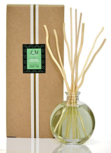 48 HOUR YEAR END SALE! L & M Naturals Spearmint and EUCALYPTUS Diffuser - all in a pretty glass~ Made with real Eucalyptus plant extract~ Perfect Gift~ Made in the USA! (New Home Blessing Basket)