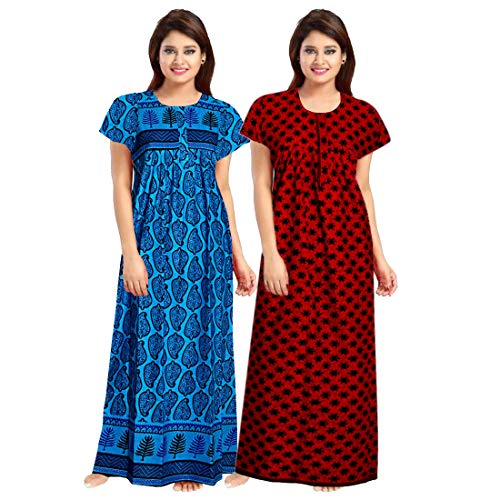 Khushi Print Women's Soft Cotton Sleepwear Nighty Gown (Multicolour, Free Size) -Combo Pack of 2pcs