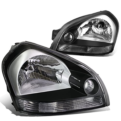For Tucson JM 1st Gen Pair of Black Housing Clear Signal Headlight Lamp