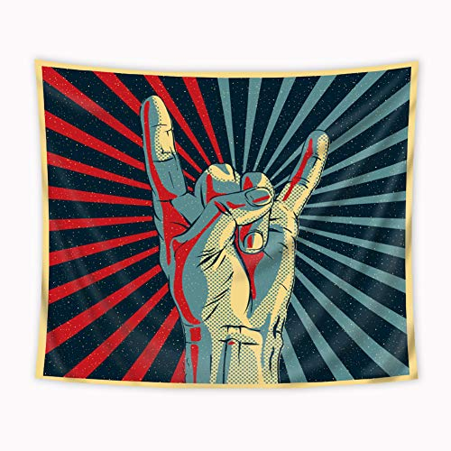 Riyidecor Music Rocker Sign Tapestry 51x59 Inch Musical Universal Gesturing Hand Thunder Bolts Party People Colorful Stripe Unique Art Print Wall Hanging Indigenous Bedroom Living Room… ()