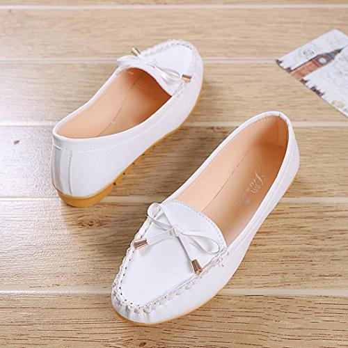 Müßiggänger Schuhe Schuhe Comfort Hunpta Schuhe On Flats Slip Flache Damen Weiß qwxqTP16