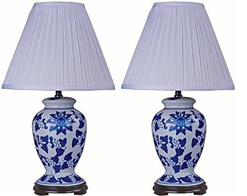 Park Madison Lighting PMT-2114 Ginger Jar Table Lamp Set with Blue Delf-Like Finish and Wood Base (2 Piece)