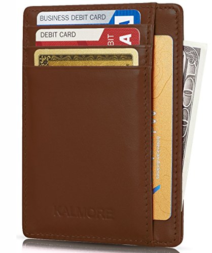 Kalmore Credit Card Holder Genuine Leather Slim & Thin Pocket Wallet Minimalist Wallet Money Clip RFID Blocking - Leather Womens Money Clip
