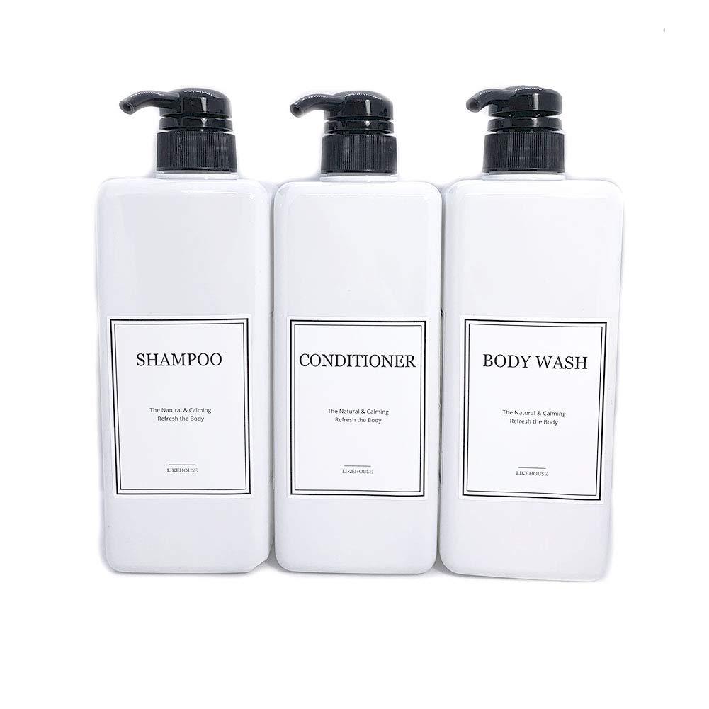LIKEHOUSE 27.05 oz Pump Bottle of The Bathroom, Waterproof Label Sticker,Pack of 3, Shower Plastic Bottles, Empty