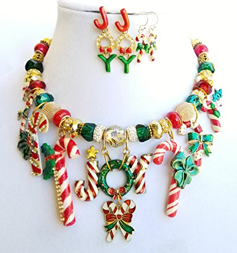Crystal Gold Vintage Candy Cane Joy Wreath Pendants Necklace 2 x Earrings One of a -