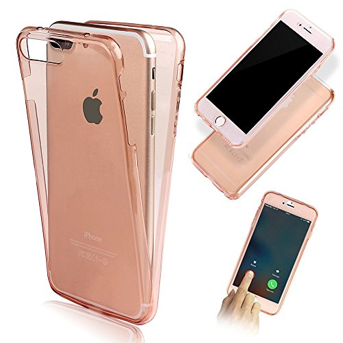Front and Back Full Protection TPU Silicone Case Cover for Apple iPhone 6S 6 4.7 inch-Vandot Ultra Slim Fit Clear 360 Degree Full Body Soft Rubber Gel Shockproof Protective Shell-Transparent Rose Gold