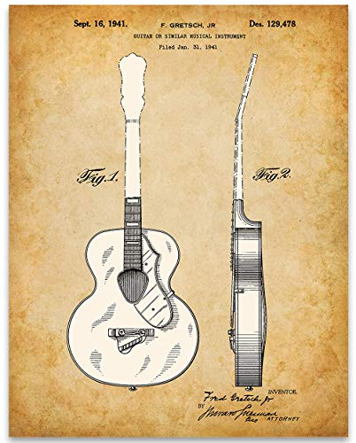 Gretsch 6022 Rancher Guitar Patent - 11x14 Unframed Patent Print - Great Gift Under $15 for Guitar Players