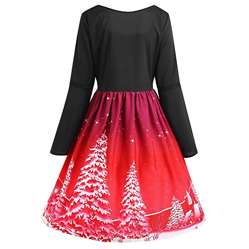Christmas Neck Square Size Plus s CharMma Print Swing Up Lace Red Dress Women Tree XwRx8wIB