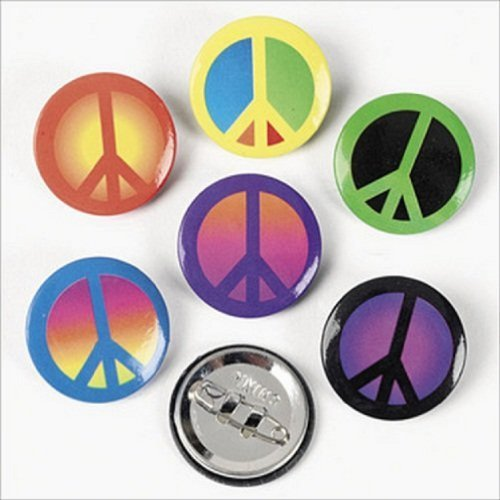 Lot 48 Peace Sign Mini Buttons Pins Hippie 70's Party Kids Peace Sign