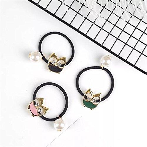 Inlet Ring (Quantity 1x Full_25_ Korean simple_ cute _sweetversatile_ leather band _water_inlet_ pearl diamond _owl_ earrings ring)