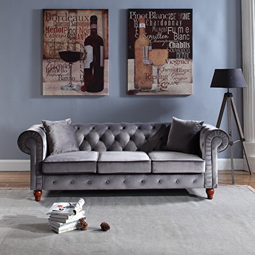 Divano Roma Furniture Classic Velvet Scroll Arm Tufted Button Chesterfield Style Sofa (Grey)