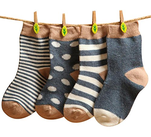 GRyiyi Baby Socks Unisex infant Turn Cuff Socks for 0-6 Months Baby, 4 Pair ( thin style:denim Blue)
