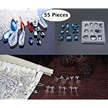 5 Pack Silicone Jewelry Casting Molds with 50 PCS Silver Screw Eye Pins, Magnolora Silicone Resin Jewelry Pendant Necklace Earring Molds with Popular Jewelry Shapes for DIY Jewelry Craft Making