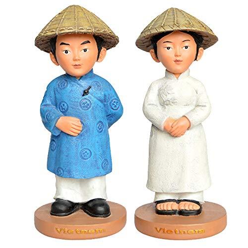 Decoration Home, A Couple of Lovers Sculptures, Vietnamese Traditional Costume Figures Figurines, Mini Desktop Ornaments, Resin Painted Crafts, Tourist Souvenirs (7 X 7 X 15cm)
