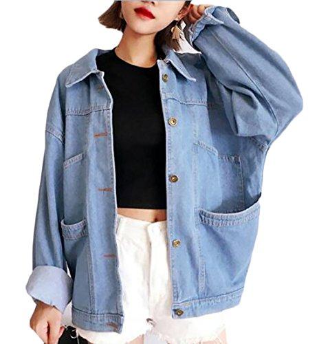 ouxiuli Women's New Classic Long Sleeve Button Casual Easy Plus Size Boyfriend Denim Jacket Light Blue M