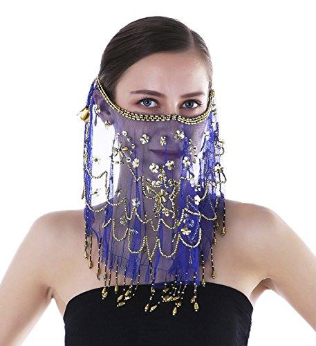 Beaded Dance Costumes (Seawhisper Veil Dance Costume Beaded Face Veil Halloween Costumes Accessory Royal blue)