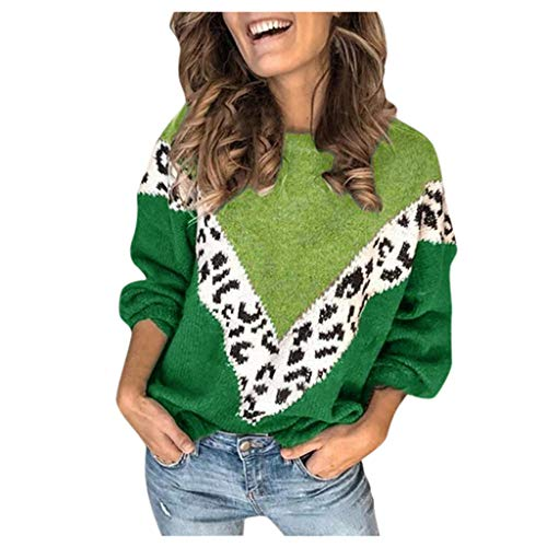 2001 Patch Block - Youmymine Women Sweaters Leopard Print Long Sleeve Crewneck Color Block Patchwork Pullover Knit Sweater Tops (Green, XL)