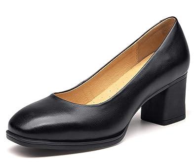 Simples Noir Chaussures Femmes Chunky Shiney Talon Travail Nouveau EYDH9W2I