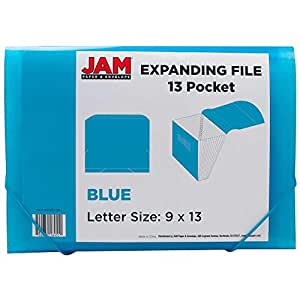 "JAM Paper Accordion Folders - Plastic 13 Pocket Expanding File - Letter - 9"" x 13"" - Blue - Sold Individually"