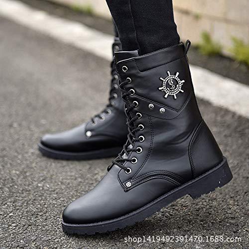 LOVDRAM Stiefel Männer Herbst Und Winterstiefel Männer Flache Mode Hohe Hilfe In Die Stiefel Mode Lässig Stiefel Winter Warme Martin Stiefel