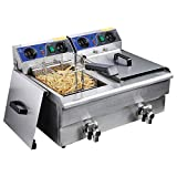 20L Dual Tank Stainless Steel Electric Deep Fryer with Drain