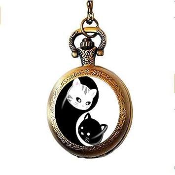 Yin Yang Gargantilla de bolsillo reloj collar dos Ying Yang Gatos Pocket Watch Collar Kitty Joyería Ocho Diagramas Reloj de bolsillo Collar: Amazon.es: ...