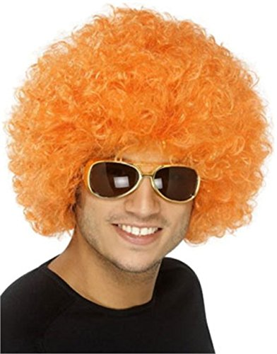 [New Mens Womens Child Costume Orange Afro Disco Wig (1)] (Mad Hatter Costume Female)