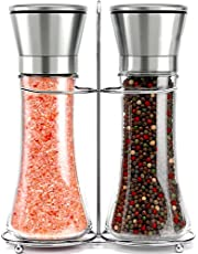 Willow & Everett Salt and Pepper Mill - Premium Stainless Steel Grinder Set w/ Stand – Tall Shakers w/ Adjustable Coarseness - Refillable Mills w/ Lids