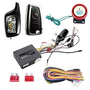 Calidad original Steelmate 2 Vías, LCD de la motocicleta Sistema de Alarma w remoto Inicio del motor Starter & sin llave de conducción Acero Mate