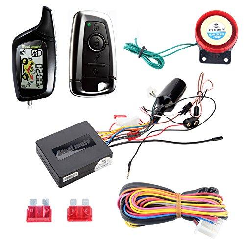 Calidad original Steelmate 2 vías LCD motocicleta Sistema de Alarma con mando a distancia inicia el motor & Sensor de golpes...