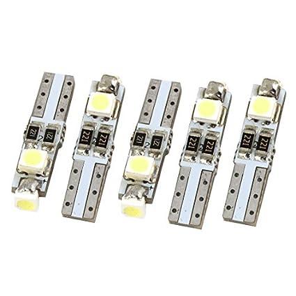 eDealMax 5 piezas de T5 Blanca 1210 3 SMD LED del bulbo del coche cuña de