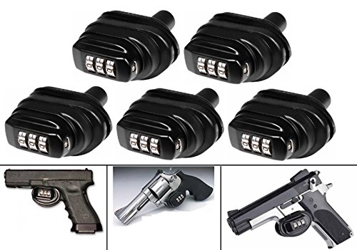 Ultimate Arms Gear Pack Of 5 Number Combination Secure Steel & Zinc Bodied Universal Firearm Guns Handguns Pistols Revolvers Shotguns Rifles Protective Lock Safety Trigger Block Locks by Ultimate Arms Gear