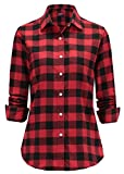 Dioufond Women Flannel Blouse Check Shirt Long Sleeve Plaid Tops (Tag 5XL (UK 20), Red)