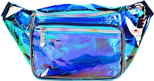 SoJourner Holographic Rave Fanny Pack - Packs for festival women, men   Cute Fashion Waist Bag Belt Bags (Transparent Blue)