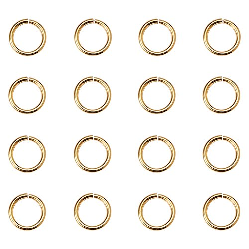 PandaHall Elite About 360Pcs Brass Open Jump Rings Close but Unsoldered Diameter 8mm for Jewelry Making Golden