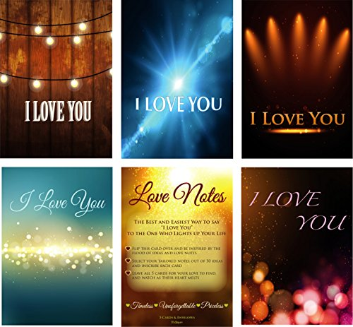 5-Pack of Customizable Romantic Greeting Cards and Envelopes by Trutoken - Including 50 Inspiring Love Note Ideas