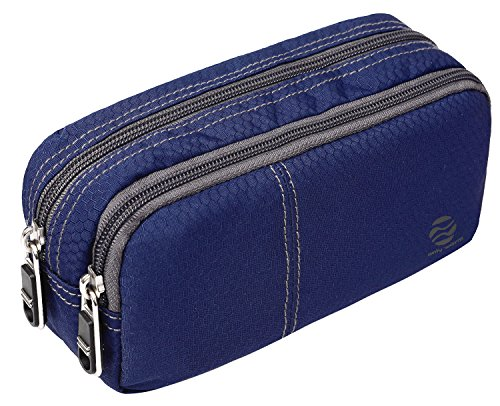 Large Pencil Case Office Supplies - Durable Student Office Pen Holder Organizer Stationary Bag with Double Zippers Multi Big Capacity Compartments for Adults Girls Boys (Navy-Upgrade)