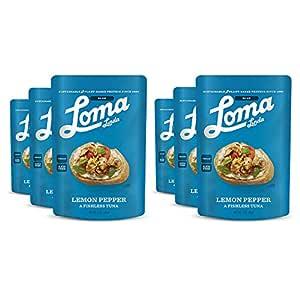 Loma Linda Blue - Plant-Based Meal Solution - Lemon Pepper Fishless Tuna (3 oz.) (Pack of 6) - Non-GMO, Gluten Free