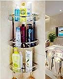 XOGOLO Stainless Steel Bathroom Shower Basket 3-Tier, with Towel Hooks, Corner Caddy Shelves Organizer Storage - Polished 9055C