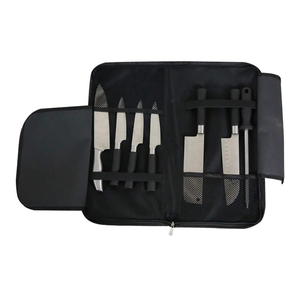 ChengYi - Cuchillo profesional (rollo ligero, 8 bolsillos), color negro