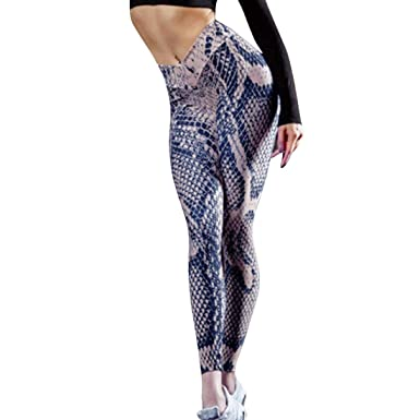 classique bons plans 2017 meilleure qualité Shujin Femme Pantalon Slim 3D Imprimé Motif Peau de Serpent Leggings de  Sport Yoga Coupe Slim Pants Basique Skinny Taille Haute Hanche Push Up